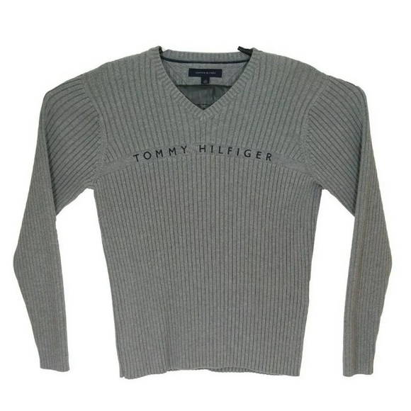 Tommy Hilfiger Ribbed Knit Sweater Spellout Mens L